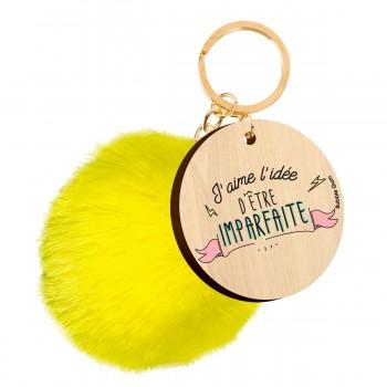 Porte clés imprimé pompon -...